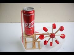 Kids Discover Make water wheel Relaxation with Coca Cola cans and IceCream Stick Stem Projects For Kids, School Science Projects, Science Experiments Kids, Craft Activities For Kids, Stem Activities, Diy Crafts For Kids, Fun Crafts, Simple Machine Projects, Cardboard Box Crafts