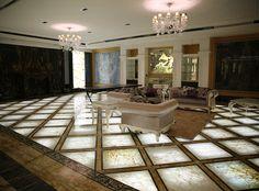 White onyx backlit floor
