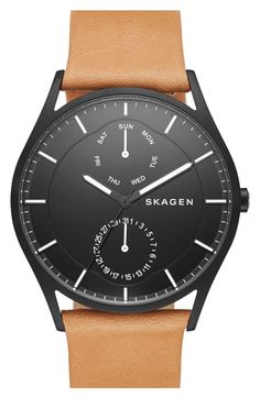 Skagen 'Holst' Multifunction Leather Strap Watch, 40mm available at #Nordstrom