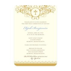 Classic Flourish: Blue Communion Invitations