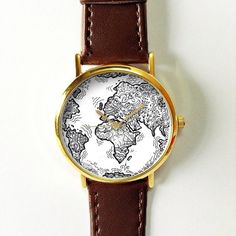 World Map Doodle Watch, Vintage Style Leather Watch, Women Watches, Boyfriend Watch, , Mens Watch, Silver Gold Rose, Travel, black white Ships Worldwide Type: Quartz Wrist Size: Adjustable from 16.75 cm to 20.75 cm (6.59 inches to 8.16 inches) Display: Analog Dial Window Material: Glass Case Material: Metal Case Diameter: 3.9 cm (1.53 inches) Case Thickness: 0.7 cm (0.27 inches) Band Material: PU Leather Band Width: 1.9 cm (0.74 inches) Band Length: 22.75 cm (8.95 inches) Band Color : tan…