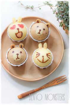 Line Brown & Cony Steam Cake for bento lunches. Full directions at the link. These look awesome!