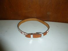 Womens Vintage Beaded Belt Brown Leather S Small Hand Crafted