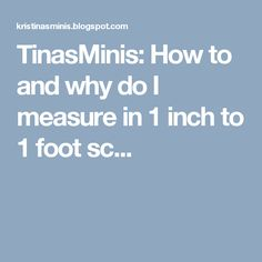 TinasMinis: How to and why do I measure in 1 inch to 1 foot sc...