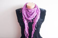 Lilac Lace Scarf with lace fringe Scarf Triangle by SpecialFabrics