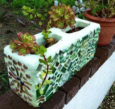 Cinder block mosaics planter