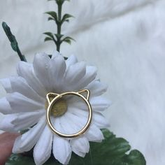 Gold tone kitty ears ring A Bella B Jewelry Rings