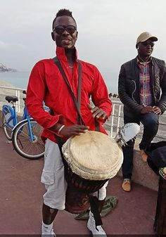 Monsieur Camara and Gambia drummers perform on Promenade des Anglais Nic...