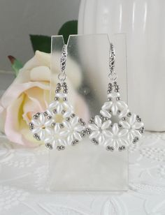 Woven White Flower Earrings by IndulgedGirl on Etsy