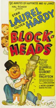 Blockheads Laurel And Hardy Vintage Movie Poster