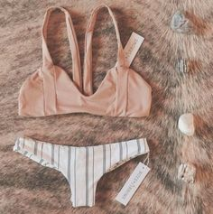 - Beige Stripe Bikini - A Girl Heaven favorite - Featured by Boys + Arrows - Comfortable and trendy - Available in sizes S, M, L - Please allow 2-4 weeks for delivery due to popularity.