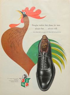 Men's fashion ad - Douglas Shoe, General Shoe Corporation, Rooster wall art, bedroom wall art, shoe collectible
