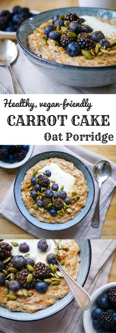 Healthy Carrot Cake Oat Porridge | nourisheveryday.com | This easy, delicious porridge recipe combines gluten free oats, grated carrot and fragrant spices to make a healthy breakfast that tastes like dessert!
