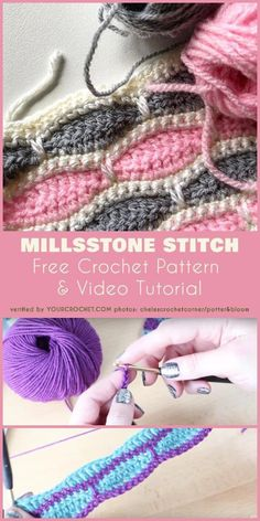 Crochet projects Amazing stitch for baby blanket. Free Crochet Pattern and Video Tutorial for Millsstone Stitch. Ideal for any blanket, afghan or beds. Crochet Simple, Love Crochet, Knit Crochet, Crochet Braid, Beautiful Crochet, Single Crochet, Crochet Stitches Patterns, Stitch Patterns, Knitting Patterns