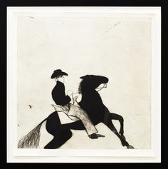 "KATE BOXER ""COWBOY AND HORSE"" Drypoint and Carborundum Limited Edition Print Edition of 30 30"" x 29""  Unframed $1245.  Framed in 1.5"" Modern Shadow Box"