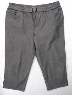 Liz Claiborne Womens Plus 18W Silver Gray Belted Cropped Ankle Length Crop Pants #LizClaiborne #CaprisCropped