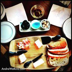Snackin' #cheese #ciabatta #oliveoil #prosciutto #almonds #wine #linens #handmade #handcrafted #yumyumyum #nosh