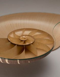 Marc Fish Nautilus II Low Table; Glass table top