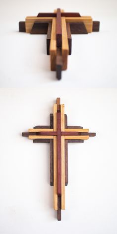This beautiful and sturdy wooden cross was handcrafted with care from three types of woo