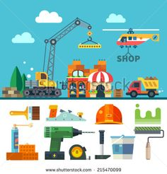 Construction. Process, tools, and materials. Vector flat icon set and illustration: building a house, crane, truck, helicopter, bricks, stone, sand, paint, brush, roller, drill, helmet, hammer, plane