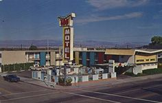 Old postcard showing the Imperial 400 Motel in Needles, Route 66, California