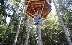 Bicycle-Powered Tree House Elevator - simply hop on and pedal your way to the top!