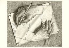 Favorite Artist: MC Escher: Drawing Hands: lithograph: x Mc Escher, Escher Drawing Hands, Escher Kunst, Escher Drawings, Escher Art, 3d Drawings, Escher Prints, Funny Drawings, Drawing Lessons