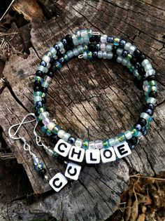 Light Green/Silver Gray/Black Personalized Name Bracelet and Earring Set on Etsy, $10.00