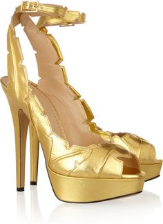 Leaf Me Alone Metallic Leather Sandals by Charlotte Olympia