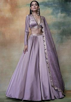 Excited to share this item from my shop: Lilac/ lavender designer lehenga skirt, blouse and mirror embroidered Dupatta Indian wedding lengha bridesmaids dress, indo western outfit Indian Bridesmaid Dresses, Indian Bridal Outfits, Indian Designer Outfits, Designer Dresses, Bridesmaid Outfit, Indian Dresses, Lehenga Choli Designs, Lengha Design, Lehenga Skirt