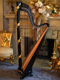 Black Gold Laurel Leaf Classic Column Harp - love the harp - if I could learn an instrument, this is what it would be...                                                                                                                                                      More