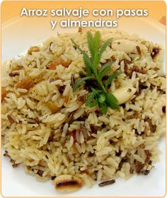 ARROZ SALVAJE CON PASAS Y ALMENDRAS Easy Cooking, Healthy Cooking, Cooking Recipes, Mexican Food Recipes, Vegetarian Recipes, Healthy Recipes, Couscous, Quinoa, Latin American Food
