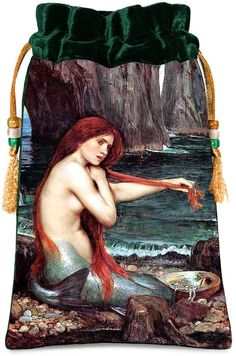 Mermaid by William Waterhouse.  Victorian fairytale drawstring pouch or tarot bag with wonderful green silk velvet