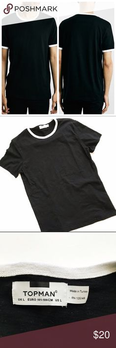 Topman Slim Fit Ringer Tee in Black This is a gently used Topman Slim Fit Ringer Tee in Black with white trim. In excellent condition. Made of cotton. Topman Shirts Tees - Short Sleeve
