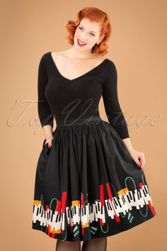 Collectif Clothing Jasmine Jazz Piano Swing Skirt 21903 20170606 0012w