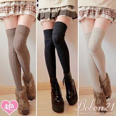 BoBON21冬季新品 羊毛竖条加长显瘦过膝袜大腿袜高筒袜 女AC0921-淘宝网