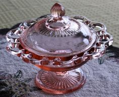 Pink Depression Glass Lace Edge Covered Candy Dish/Compote Old Colony Pattern.