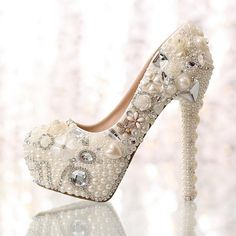 fc25a58a8515 2015 new fashion white beige flower Pearl bridal wedding dress shoes  crystal diamond women pumps 10cm 14cm high heels shoes