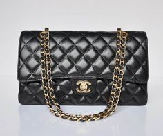 2017 Chanel 2 55 Bags 1113 Black Lambskin Gold Chain Inside