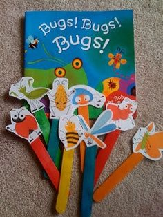 Preschool Printables: Free Fun Bug Mini Printables including simple matching bug puzzles (popsicle sticks with any characters like farm animals, zoo animals, etc. Preschool Bug Theme, Preschool Literacy, Preschool Books, Preschool Printables, Classroom Activities, Preschool Activities, Free Preschool, Language Activities, Insect Activities