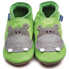 Inch Blue Baby Boys Luxury Leather Soft Sole Pram Shoes - Hippo Green & Grey #InchBlue #PramShoes