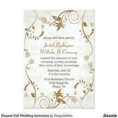 "Elegant Fall Wedding Invitation 5"" X 7"" Invitation Card"