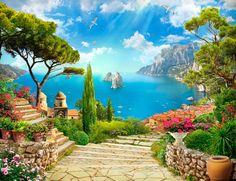 Dream Pictures, Beautiful Pictures, World Gif, What A Beautiful World, Garden Theme, Nature Paintings, House Painting, Amazing Art, Ramen