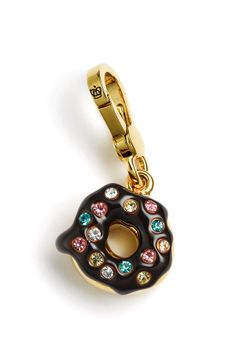 """Juicy Couture Donut Charm We're sorry. This item is currently unavailable. Juicy Couture Donut Charm  Need Help? Live Chat Details A delectable charm displays crystal sprinkles topping a glazed chocolate donut. Clip closure. Approx. dimensions: 3/4""""W x 3/4""""L. Brass/12k gold plating/glass/cubic zirconia. By Juicy Couture; imported."""