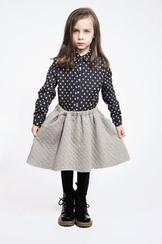Quenotte winter 2013 kids fashion with a quilted skirt, quilting was a key trend for kidswear this fall.