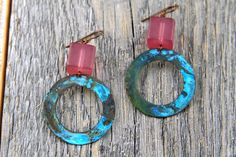 chunky vintage purple lucite and blue patina earrings  by bootsravendesigns, $39.00