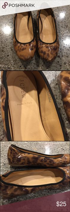 J.Crew Leopard  Leather Flats I love these! Super cute patent leather leopard flats. Unfortunately I'm really a 9.5 and these give me toe cleavage. They are in great condition. J. Crew Shoes Flats & Loafers