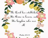 Christian Inspirational Quote Art- Psalm 103:19 - 8.5X11 Printable - BV-056