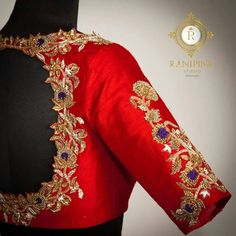 Elegance is not about being notice . Beautiful red color designer blouse with floret lata design hand embroidery rich zardosi work. Saree Blouse Neck Designs, Bridal Blouse Designs, Blouse Patterns, Traditional Blouse Designs, Embroidery Fashion, Hand Embroidery, Embroidery Blouses, Zardosi Embroidery, Maggam Work Designs