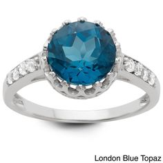 Gioelli Tiara Collection Sterling Silver Gemstone and White Topaz Crown Ring